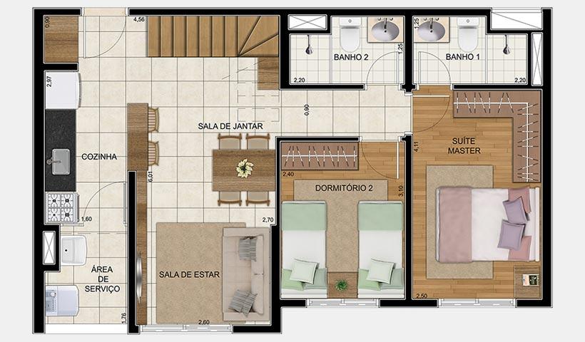 Vivart – Planta inferior do duplex de 116 m²