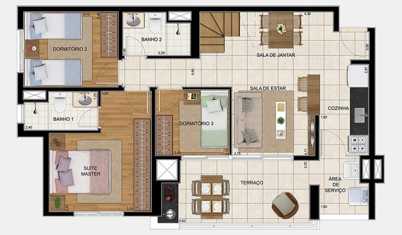 Vivart – Planta inferior do duplex de 152 m²