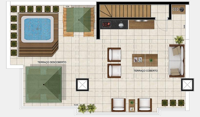 Vivart – Planta superior do duplex de 152 m²