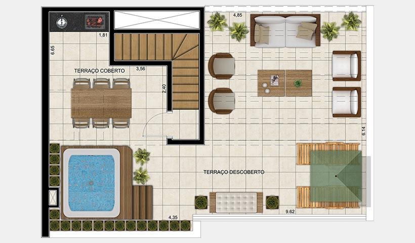 Vivart – Planta superior do duplex de 116 m²