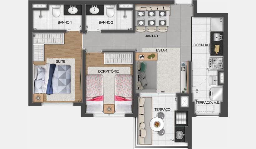 Vivid Perdizes – Planta Tipo do Apartamento de 60 m² - Final 02