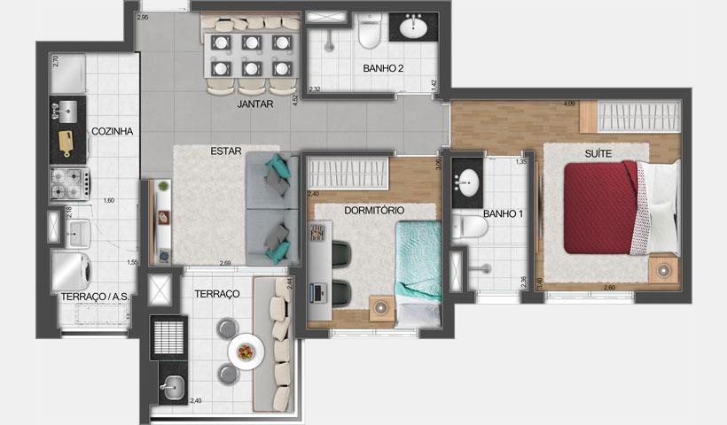 Vivid Perdizes – Planta Tipo do Apartamento de 62 m² - Final 06