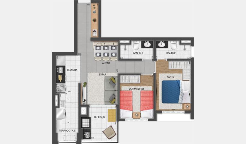 Vivid Perdizes – Planta Tipo do Apartamento de 67 m² - Final 01