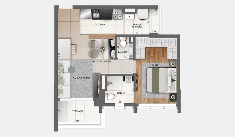 Z. Cotovia – Planta opção do apto. de 49 m²