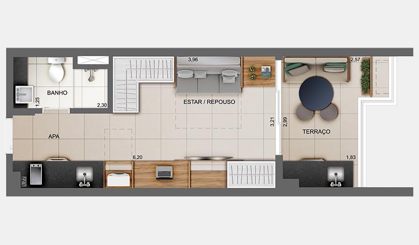 Z. Cotovia – Planta opção do studio de 31 m²