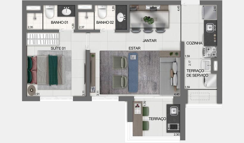 Z Ibirapuera – Planta Opção do Apto. de 51 m²