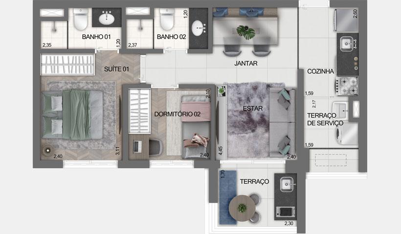 Z Ibirapuera – Planta Tipo do Apto. de 51 m²