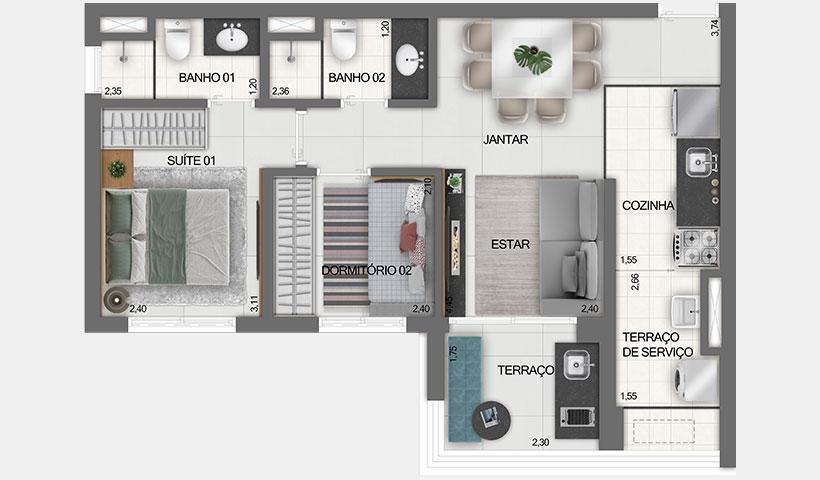 Z Ibirapuera – Planta Tipo do Apto. de 54 m²