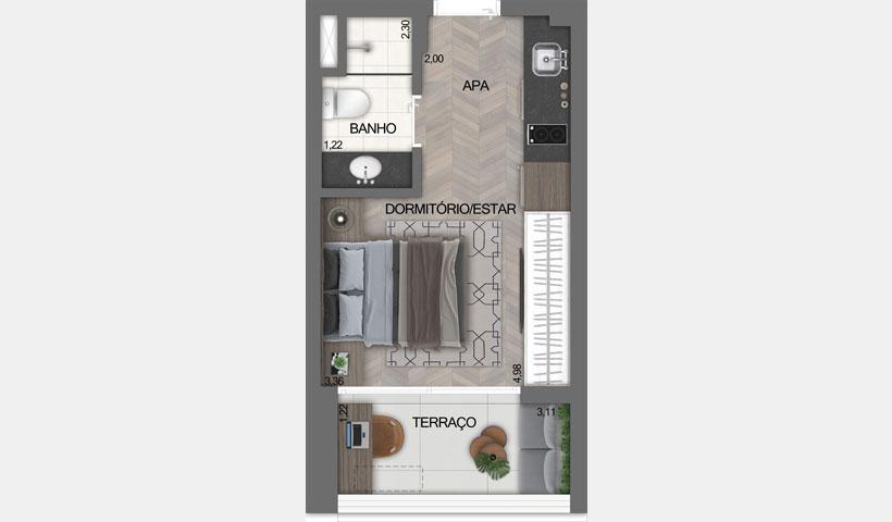 Z Ibirapuera – Planta Tipo do Studio de 24 m²