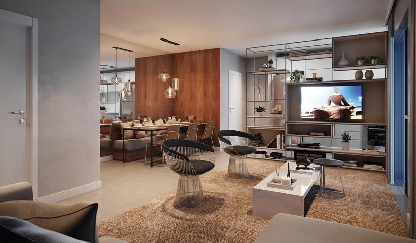 Z. Pinheiros – Living ampliado do apto. de 68 m²