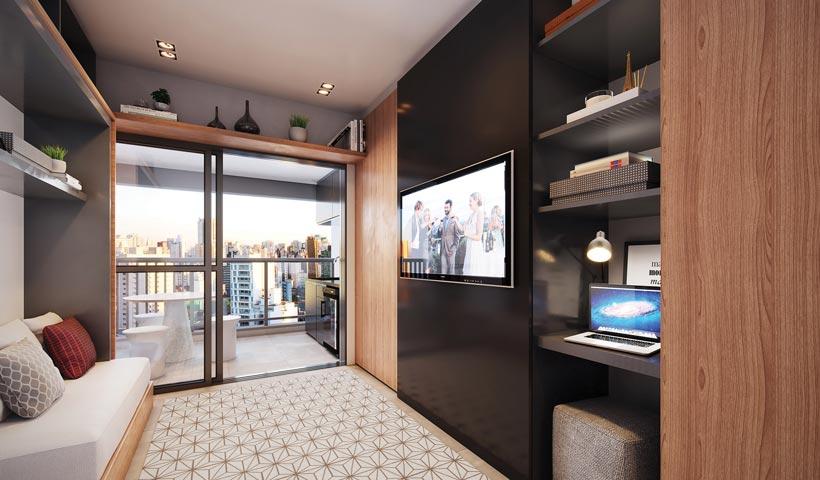 Z. Pinheiros – Living do studio de 30 m²