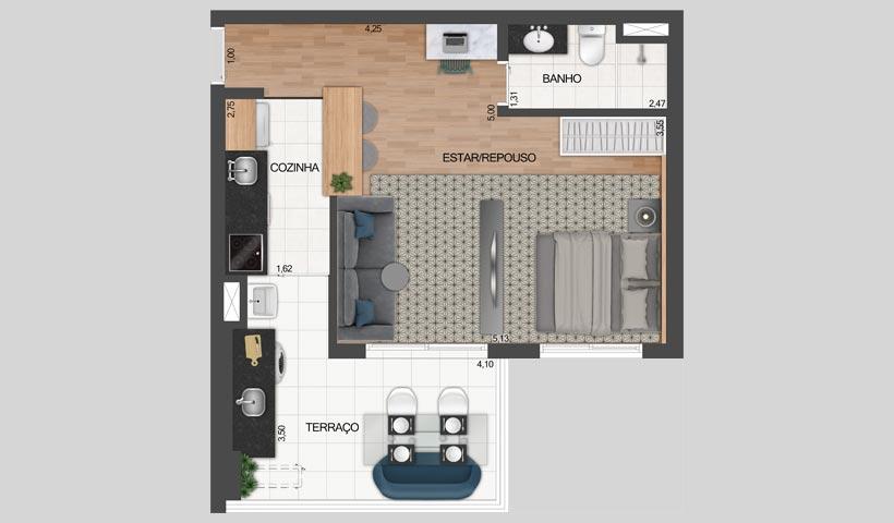 Z. Pinheiros – Planta opção do apto. de 49 m²