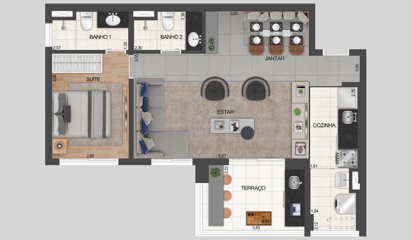 Z. Pinheiros – Planta opção do apto. de 68 m²